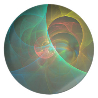 Multicolored abstract fractal plate