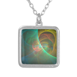 Multicolored abstract fractal silver plated necklace