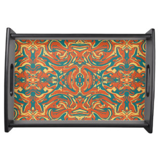 Multicolored Abstract Ornate Pattern Serving Tray