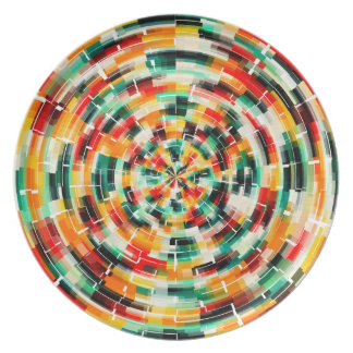 Multicolored Abstract Pattern Plate