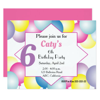 Multicolored balloon Birthday party Invitation