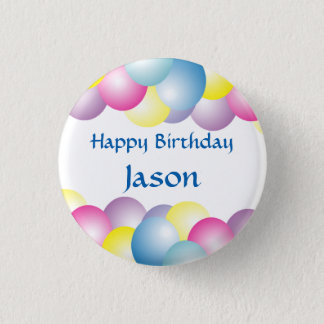 Multicolored balloons birthday party 1 inch round button