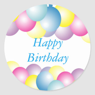 Multicolored balloons birthday party classic round sticker