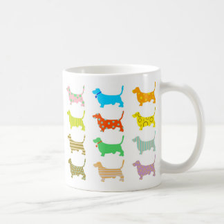 Multicolored bassets coffee mug