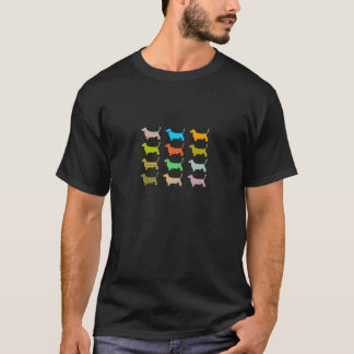 Multicolored bassets men's T-shirt