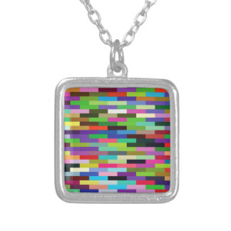 multicolored bricks silver plated necklace