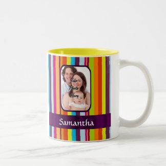 Multicolored candy stripe Two-Tone coffee mug