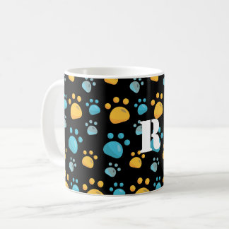 Multicolored Cat Paw Prints Pattern Coffee Mug