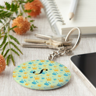 Multicolored Cat Paw Prints Pattern Keychain