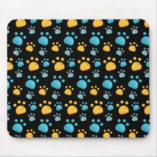 Multicolored Cat Paw Prints Pattern Mouse Pad