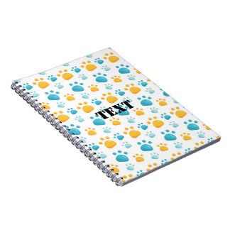Multicolored Cat Paw Prints Pattern Spiral Notebook