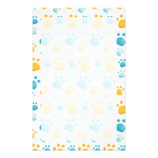 Multicolored Cat Paw Prints Pattern Stationery