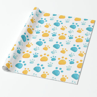 Multicolored Cat Paw Prints Pattern Wrapping Paper