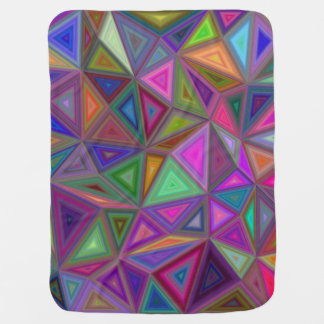 Multicolored chaotic triangles baby blanket
