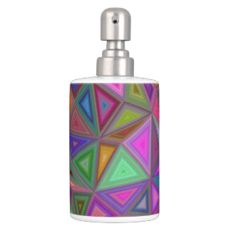 Multicolored chaotic triangles bath accessory sets