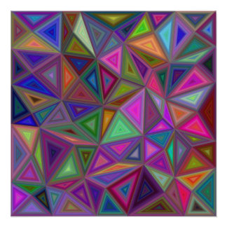 Multicolored chaotic triangles perfect poster