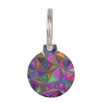 Multicolored chaotic triangles pet ID tag