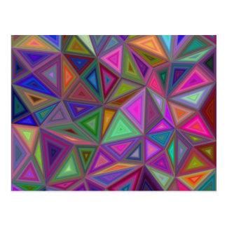 Multicolored chaotic triangles postcard