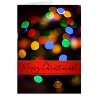 Multicolored Christmas lights. Add text. Card