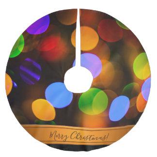 Multicolored Christmas lights. Add text or name. Brushed Polyester Tree Skirt