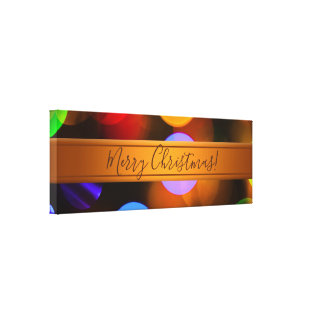 Multicolored Christmas lights. Add text or name. Canvas Print