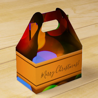 Multicolored Christmas lights. Add text or name. Favor Box
