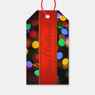 Multicolored Christmas lights. Add text or name. Gift Tags