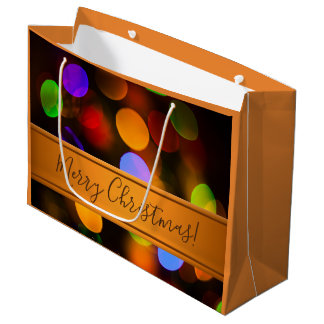 Multicolored Christmas lights. Add text or name. Large Gift Bag