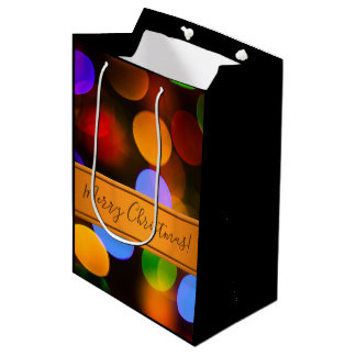Multicolored Christmas lights. Add text or name. Medium Gift Bag