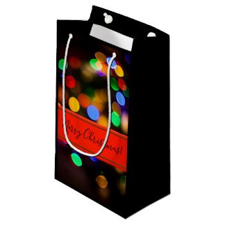 Multicolored Christmas lights. Add text or name. Small Gift Bag