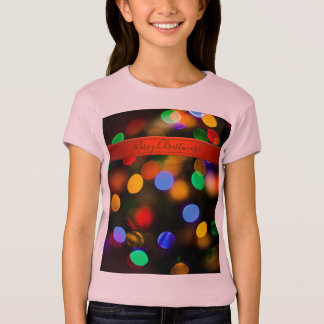 Multicolored Christmas lights. Add text or name. T-Shirt