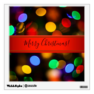 Multicolored Christmas lights. Add text or name. Wall Decal
