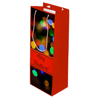 Multicolored Christmas lights. Add text or name. Wine Gift Bag