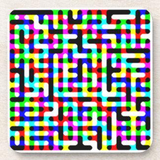 Multicolored Circuits Beverage Coaster