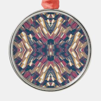 Multicolored Dark Modern Silver-Colored Round Ornament