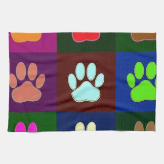 Multicolored Dog Paw Print Pattern Kitchen Towel