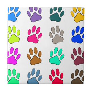 Multicolored Dog Paw Print Pattern Tile