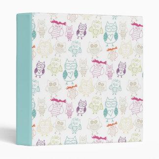 Multicolored Doodle Owls Vinyl Binders