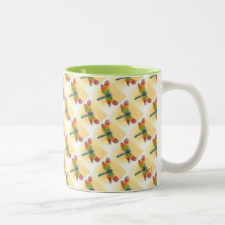 Multicolored Dragonflies Two-Tone Coffee Mug