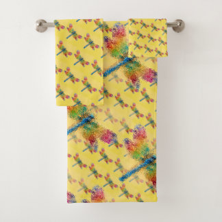 Multicolored Dragonfly Abstract Bath Towel Set