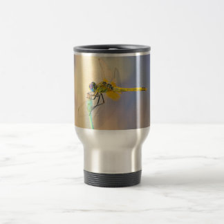 Multicolored dragonfly travel mug