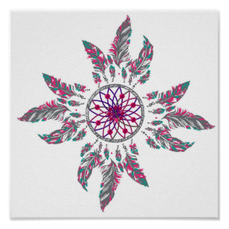 Multicolored Feather Flower Dream Catcher Poster