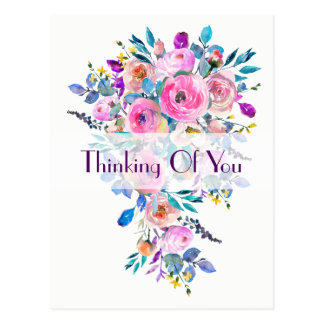 Multicolored Floral Bouquet Thinking Of You Postcard