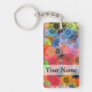 Multicolored floral pattern keychain