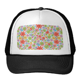 Multicolored Flowers Design Floral Pattern Hats