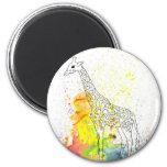 Multicolored Funky Giraffe (K.Turnbull Art) 2 Inch Round Magnet