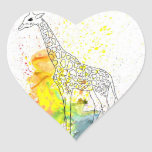 Multicolored Funky Giraffe (K.Turnbull Art) Heart Stickers