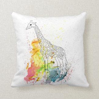 Multicolored Funky Giraffe (K.Turnbull Art) Throw Pillow