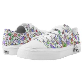 Multicolored Geomatric Pattern Low-Top Sneakers