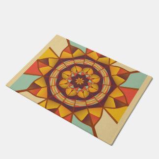 Multicolored geometric flourish doormat